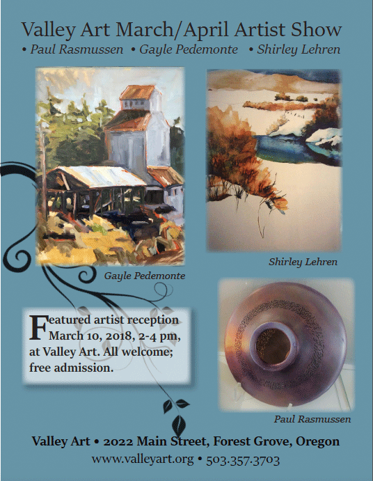 flier image for March/April featured artists, Paul Rasmussen • Gayle Pedemonte • Shirley Lehren