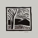 "Artist April Hoff's linocut ""Scene"""