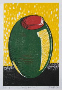 "April Hoff's multi block print ""Olive the Fear"""
