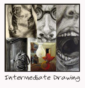 Intermediate drawing image collage of April Hoff's college drawings.