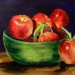 apples in a bowl painting by Irilla Swanson