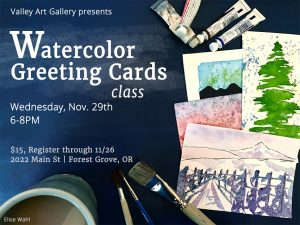 Elise Wahl watercolor greeting card class flyer.