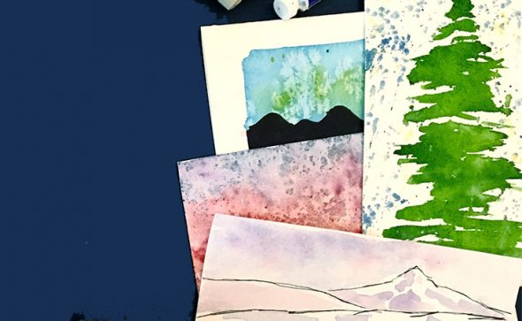 Elise Wahl watercolor greeting cards with brush and tubes of paint.