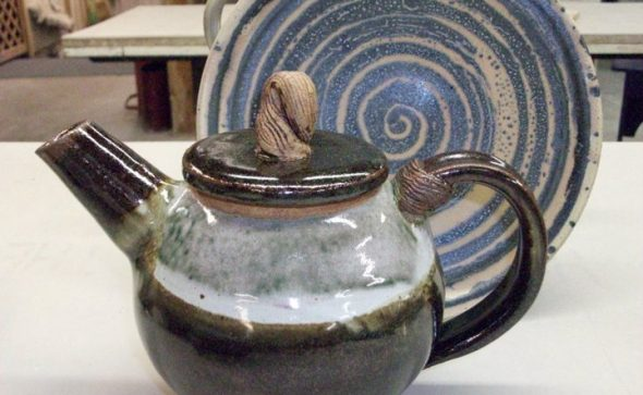 Christine Hurayt pottery pieces, a tea pot and swirled plate