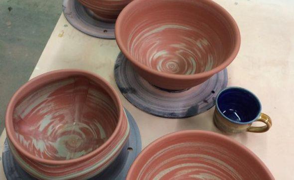 Bob Hackney swirled clay pottery bowls and vase.