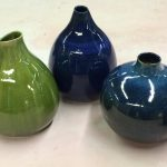 Bob Hackney clay vases in green and blue.