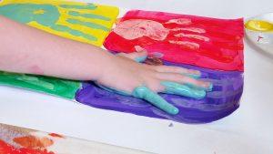 kids hand printing Warhol hand print art