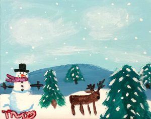 winter painting done by Artingales student Mackenzie D.