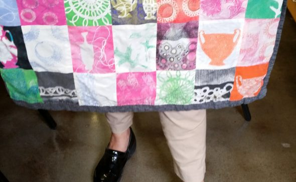 fancy fabric apron made with Amy Nack's printed squares.
