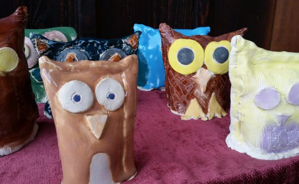 clay owls made by Artingales students at Valley Art