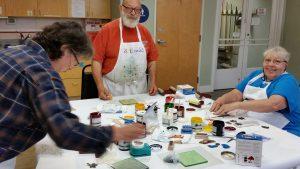 seniors making akua prints with Artingales at Valley Art