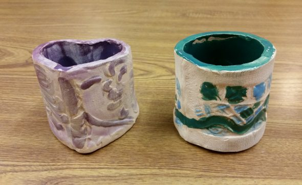 clay containers built by kids at Valley Art with Artingales