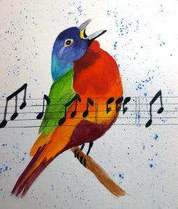 song bird watercolor by Jullane Rich